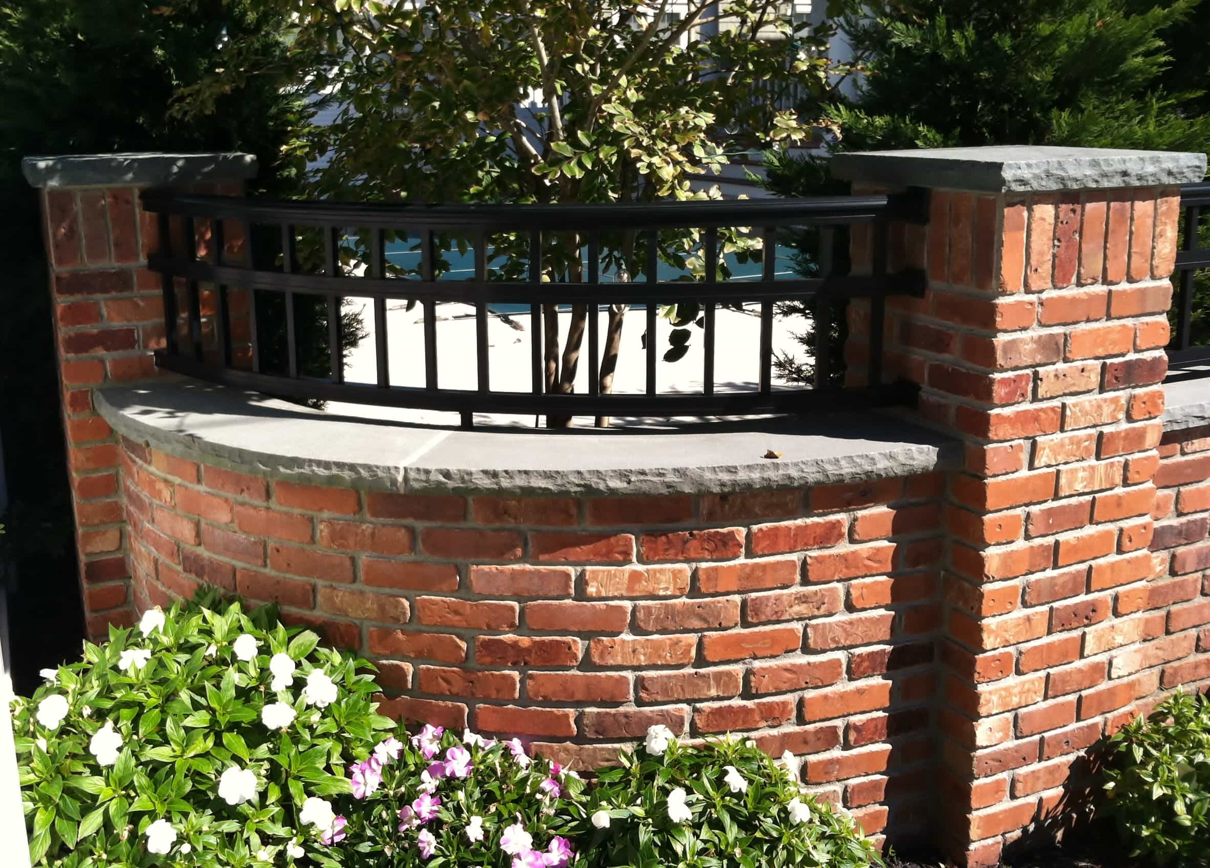 Robinson flagstone treads coping wall caps for Curved wall