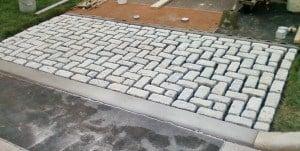 Installation of Belgium Block Driveway Apron