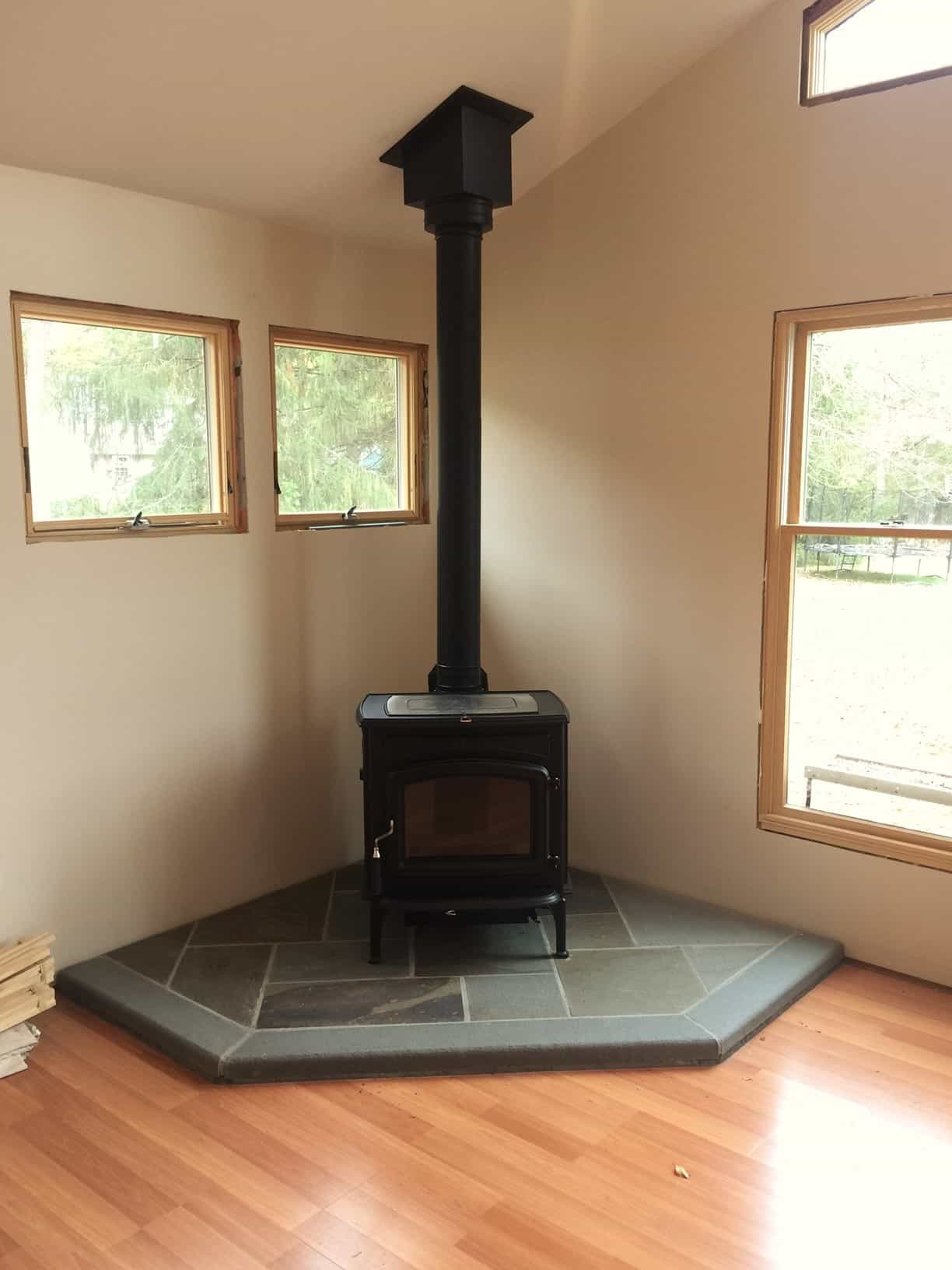 how to build a wood stove platform