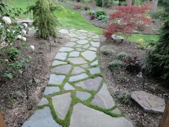 Irregular with grass joint walk