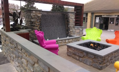 Wall & Firepit Coping with Ripple-Cut Waterfall