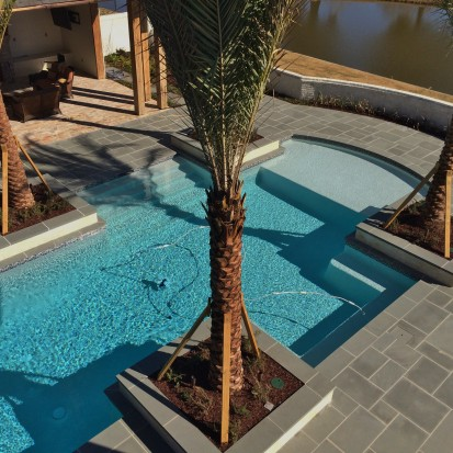 Blue Thermal Pool Deck & Coping